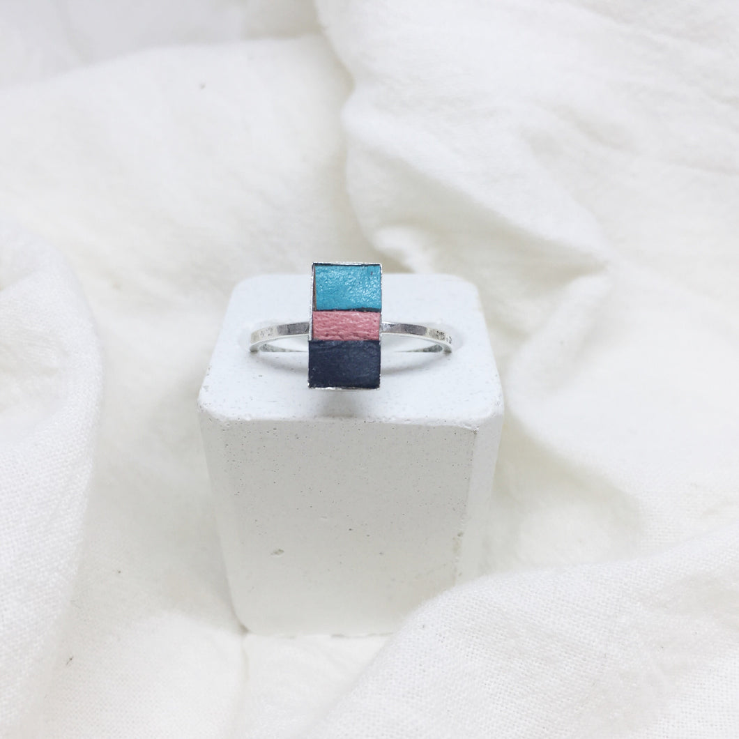 Dainty Rectangle Ring - Teal, Peach, and Black on Silver Band - Size 8