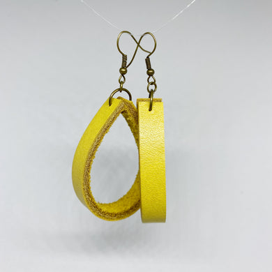 Mustard Yellow Leather Loopy Earrings