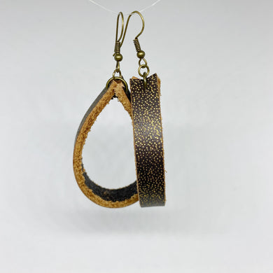 Black and Gold Recycled Leather Loopy Earrings