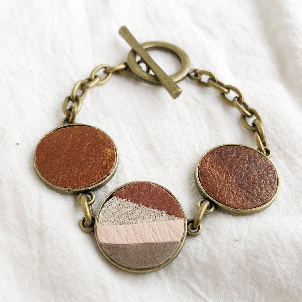 Recycled Leather Mosaic Bracelet - Brown, Sparkle, Pink, Gray