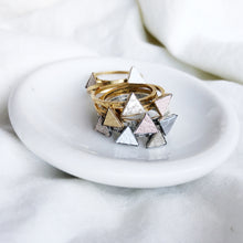 Load image into Gallery viewer, Dainty Triangle Stacking Rings Filled with Recycled Leather - Size 8