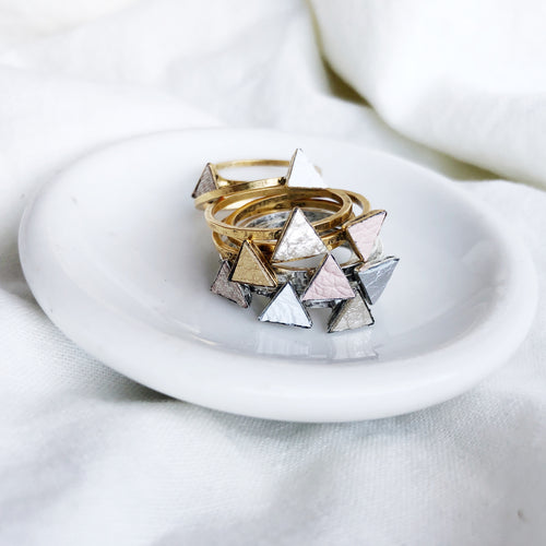 Dainty Triangle Stacking Rings Filled with Recycled Leather - Size 8