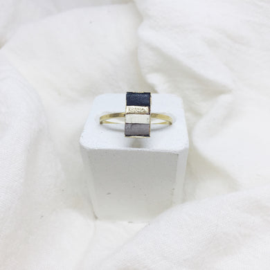 Dainty Rectangle Ring - Black, Gold, White, and Gray on Gold Band - Size 8