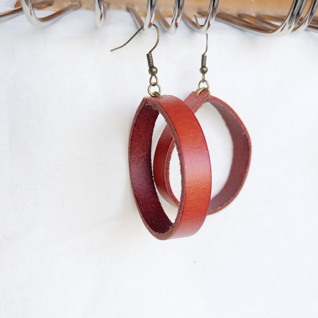 Red Recycled Leather Circle Loopy Earring