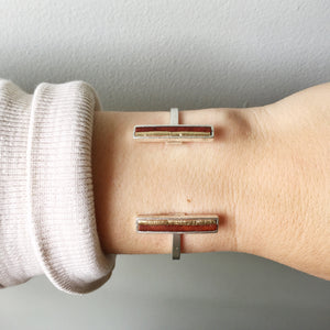 Bar Cuff - Brown and Gold Recycled Leather on Silver - Laundry Girl Jewelry
