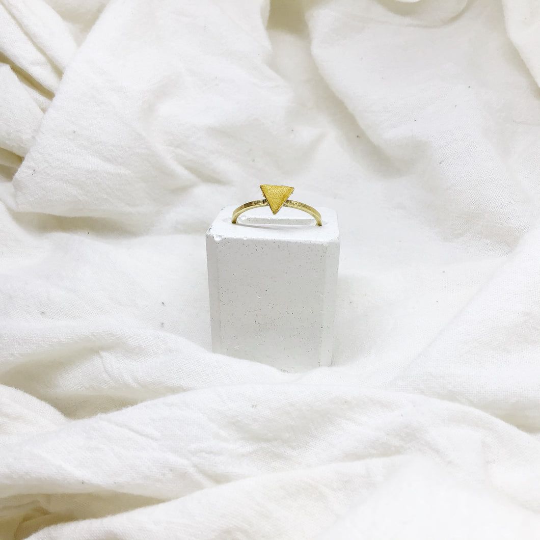 Dainty Triangle Stacking Rings Filled with Mustard Yellow Recycled Leather - Size 8 - Gold Band
