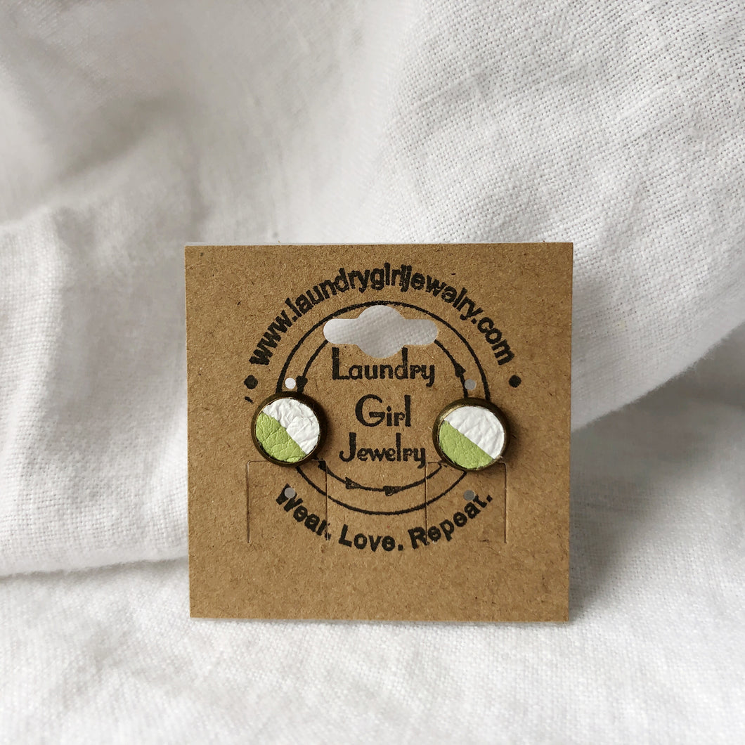 Avocado Green & White Stud Earrings made with Recycled Leather