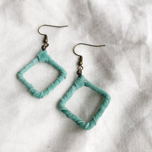 Load image into Gallery viewer, Be Square Mini - Recycled Leather Wrapped Earrings