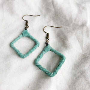 Be Square Mini - Recycled Leather Wrapped Earrings