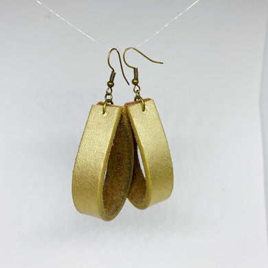 Gold Leather Loopy Earrings