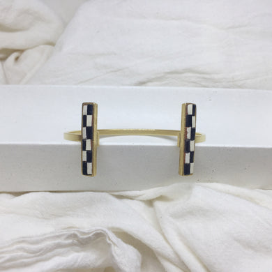 Metal Bar Cuff - Black and Cream Checked Recycled Leather on Gold