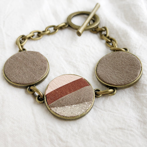 Recycled Leather Mosaic Bracelet - Pink, Brown, Gray, Sprakle