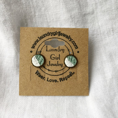 Textured Teal & White Stud Earrings made with Recycled Leather - Laundry Girl Jewelry