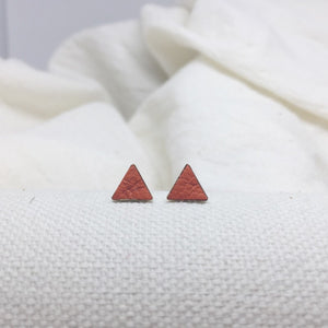 Teeny Triangle Studs - Orange - Filled with Recycled Leather