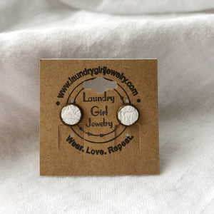 White Stud Earrings made with Recycled Leather - Laundry Girl Jewelry
