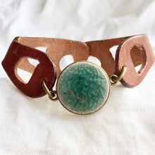 Load image into Gallery viewer, Brownie Cuff - Emerald & White - Laundry Girl Jewelry