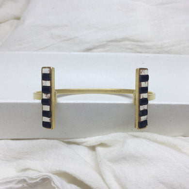 Metal Bar Cuff - Black and Cream Striped Recycled Leather on Gold