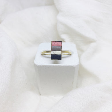 Dainty Rectangle Ring - Peach, Gray, White, and Black on Gold Band - Size 8