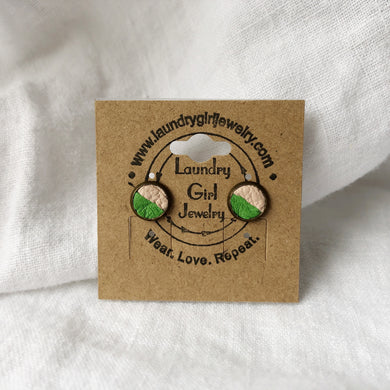 Kelly Green & Nude Pink Stud Earrings made with Recycled Leather - Laundry Girl Jewelry