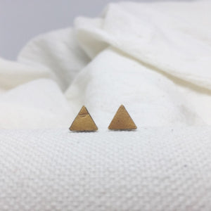 Teeny Triangle Studs - Mustard Yellow - Filled with Recycled Leather