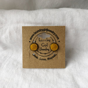 Pollen Yellow Stud Earrings made with Recycled Leather - Laundry Girl Jewelry