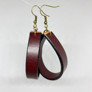 Oxblood Leather Loopy Earrings