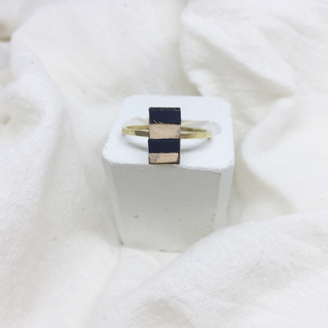 Dainty Rectangle Ring - Black and Distressed White on Gold Band - Size 8