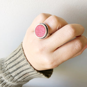 Weathered Red Adjustable Recycled Leather Ring
