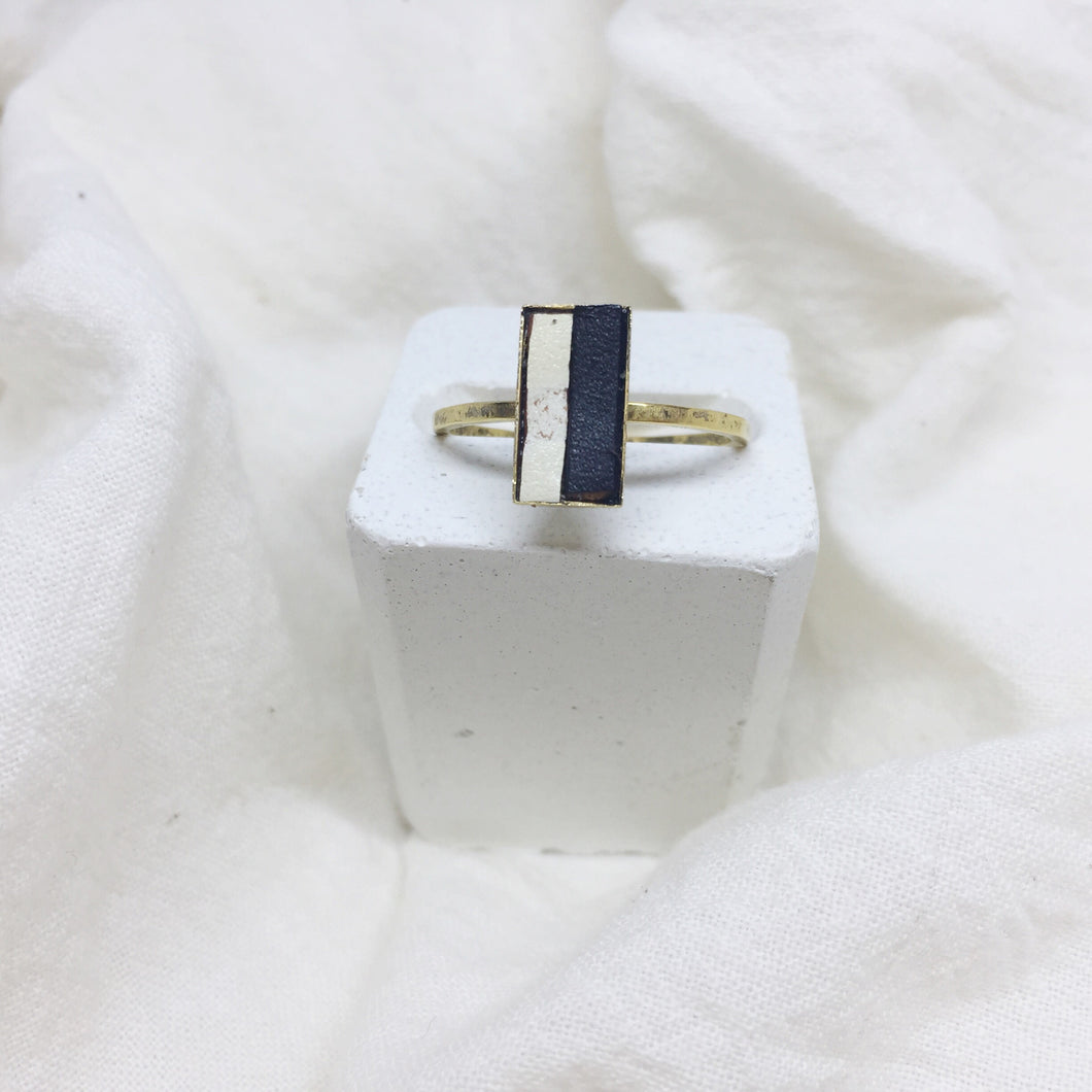 Dainty Rectangle Ring - Black and White on Gold Band - Size 8