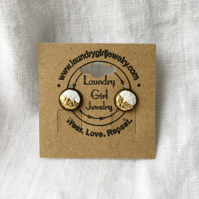 Metallic Gold & White Stud Earrings made with Recycled Leather - Laundry Girl Jewelry