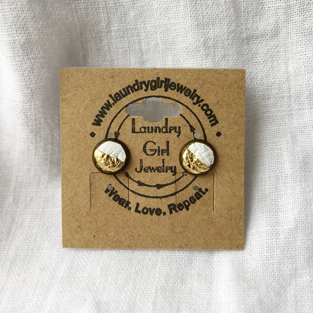 Metallic Gold & White Stud Earrings made with Recycled Leather