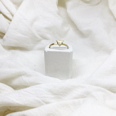 Dainty Triangle Stacking Rings Filled with Gold Recycled Leather - Size 8 - Gold Band