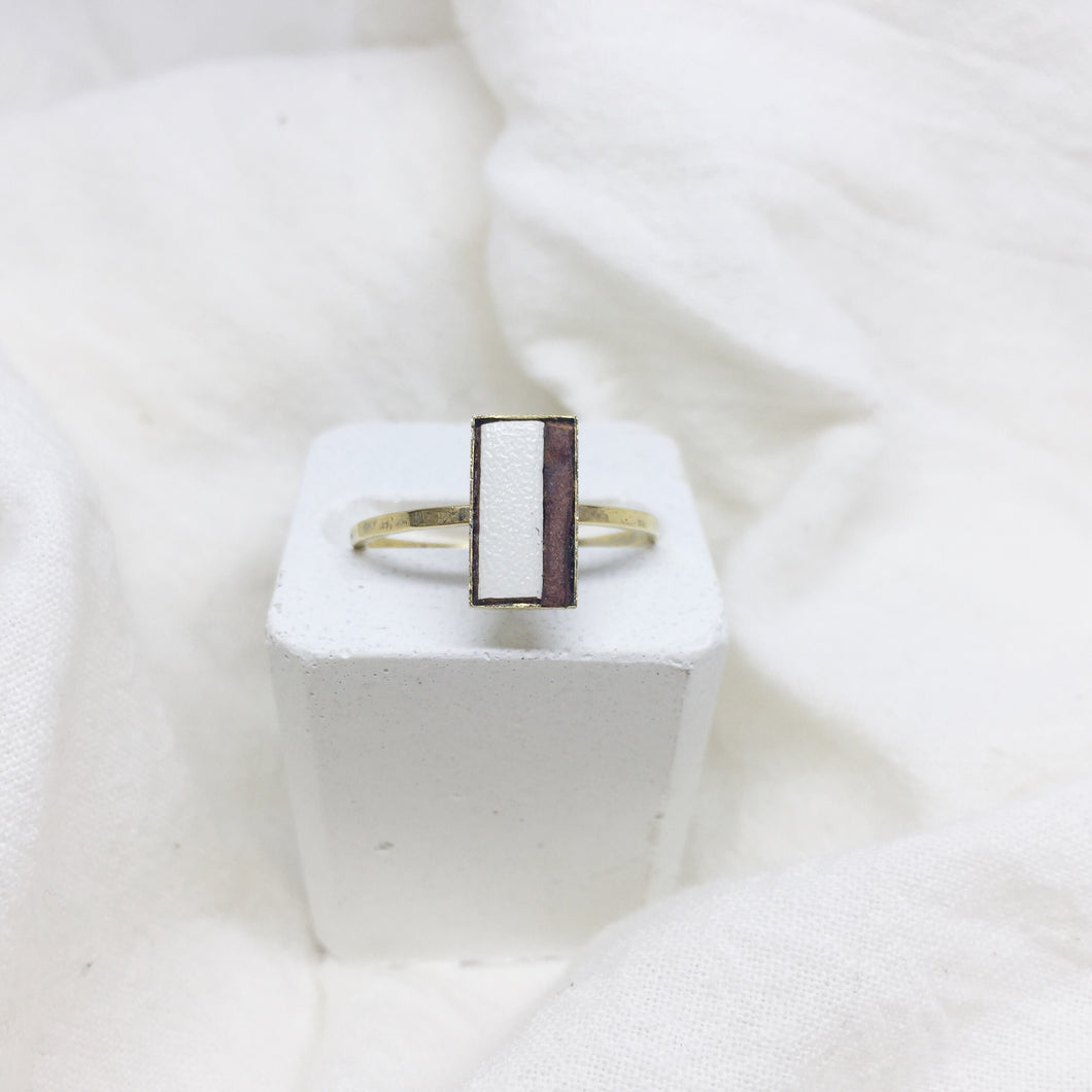 Dainty Rectangle Ring - Cream & Brown on Gold Band - Size 8