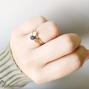 Dainty Stacking Rings Filled with Recycled Leather - Size 8