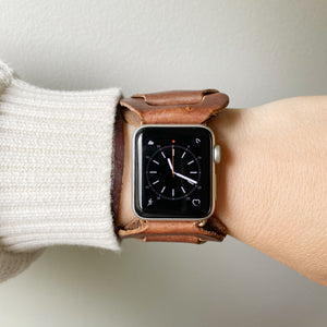 Brown Recycled Leather Apple Watch Band with Antique Bronze Toggle - for 38/40mm  or 42/44mm - Made to Order