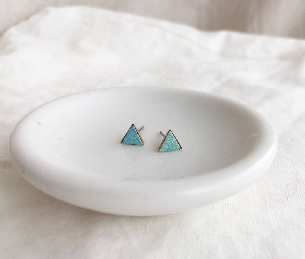 Teeny Triangle Studs - Filled with Recycled Leather