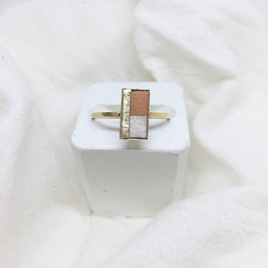Dainty Rectangle Ring - Camel, Gold and Distressed White on Gold Band - Size 8