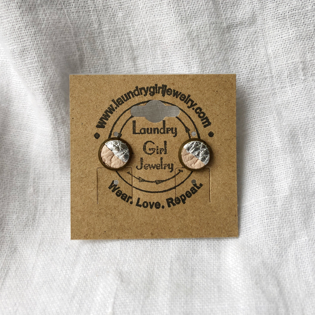 Metallic Silver & Nude Pink Stud Earrings made with Recycled Leather - Laundry Girl Jewelry