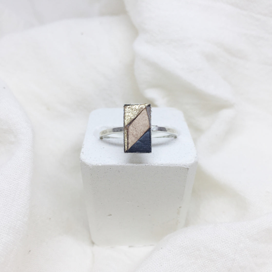Dainty Rectangle Ring - Gold, Nude, and Black on Silver Band - Size 8