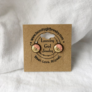 Princess Peach & Metallic Gold Stud Earrings made with Recycled Leather