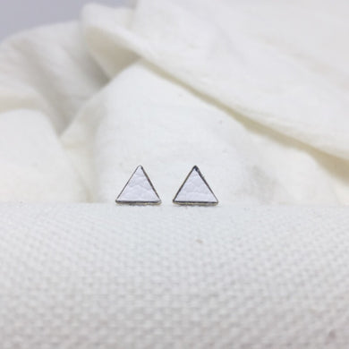 Teeny Triangle Studs - White - Filled with Recycled Leather