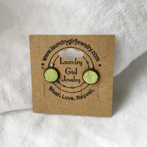 Avocado Green Stud Earrings made with Recycled Leather - Laundry Girl Jewelry