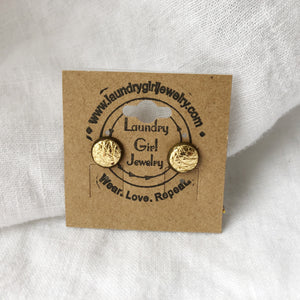 Metallic Gold Stud Earrings made with Recycled Leather - Laundry Girl Jewelry