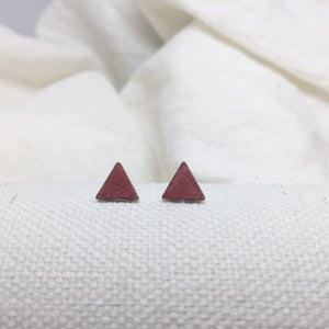 Teeny Triangle Studs - Rust - Filled with Recycled Leather