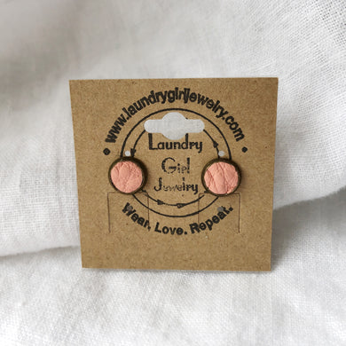 Princess Peach Stud Earrings made with Recycled Leather - Laundry Girl Jewelry