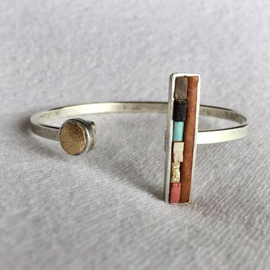 Bar Cuff - Brown Multi Bar and Gold Circle Recycled Leather on Silver - Laundry Girl Jewelry