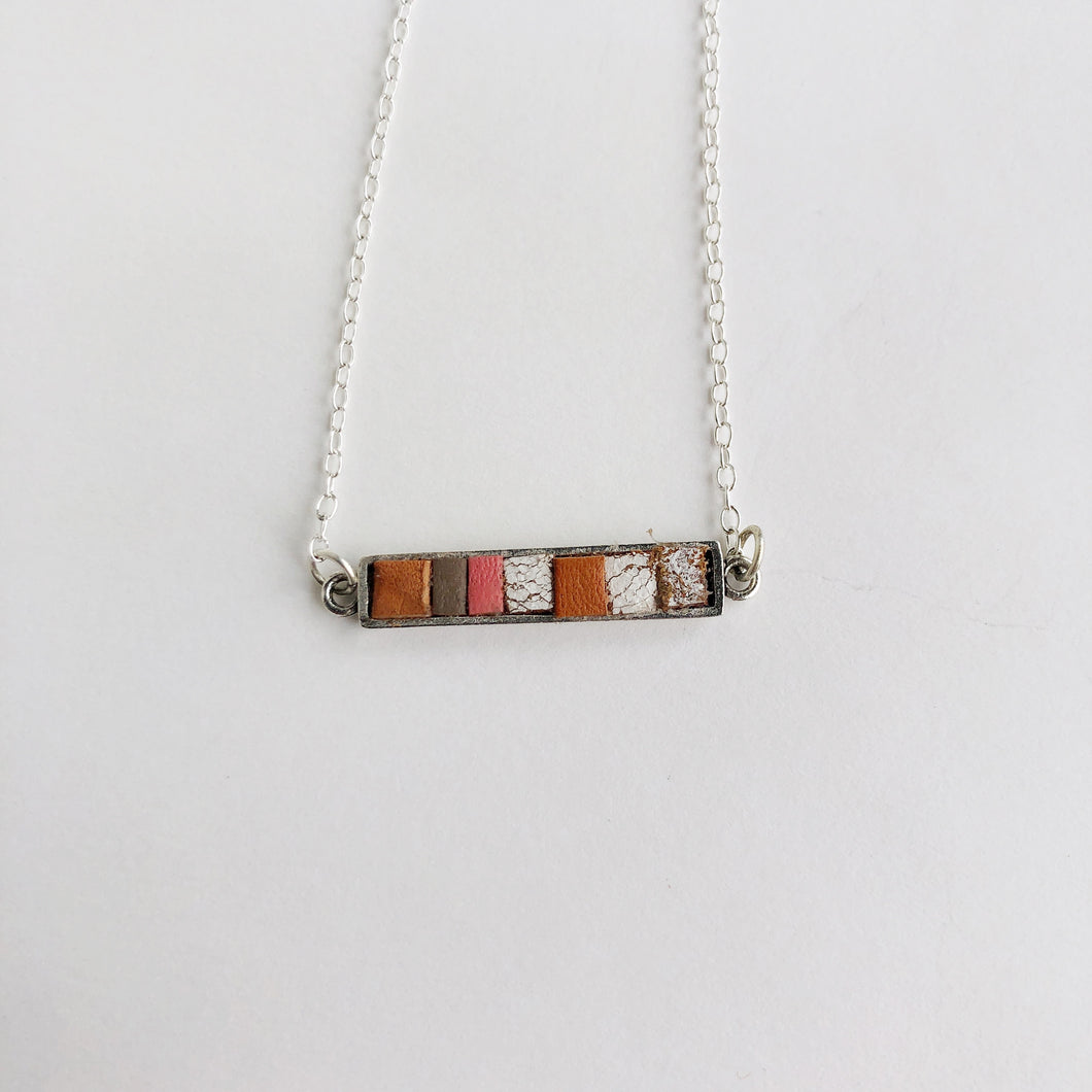 Dainty Recycled Leather Bar Necklace - 18""