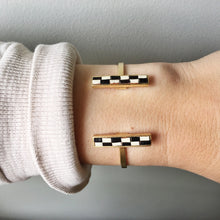Load image into Gallery viewer, Bar Cuff - Black and Cream Checked Recycled Leather on Gold - Laundry Girl Jewelry