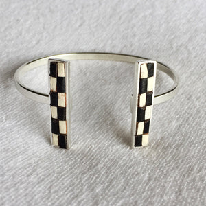 Bar Cuff - Black and Cream Checked Recycled Leather on Silver - Laundry Girl Jewelry