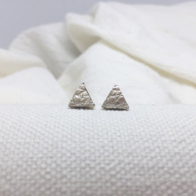 Teeny Triangle Studs - Champagne - Filled with Recycled Leather